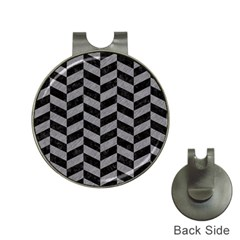 Chevron1 Black Marble & Gray Colored Pencil Hat Clips With Golf Markers