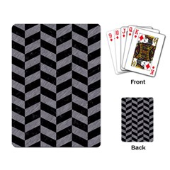 Chevron1 Black Marble & Gray Colored Pencil Playing Card