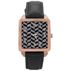 Chevron1 Black Marble & Gray Colored Pencil Rose Gold Leather Watch