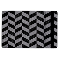 Chevron1 Black Marble & Gray Colored Pencil Ipad Air Flip