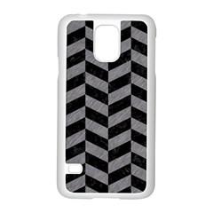 Chevron1 Black Marble & Gray Colored Pencil Samsung Galaxy S5 Case (white)