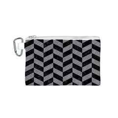 Chevron1 Black Marble & Gray Colored Pencil Canvas Cosmetic Bag (s)