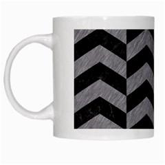 Chevron2 Black Marble & Gray Colored Pencil White Mugs