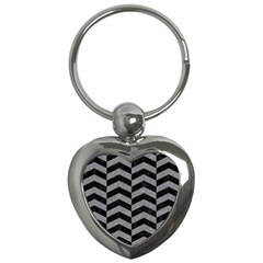 Chevron2 Black Marble & Gray Colored Pencil Key Chains (heart)