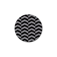 Chevron2 Black Marble & Gray Colored Pencil Golf Ball Marker