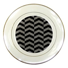 Chevron2 Black Marble & Gray Colored Pencil Porcelain Plates