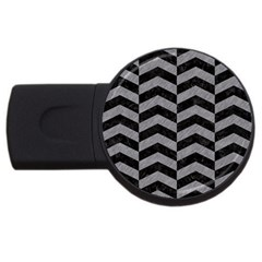 Chevron2 Black Marble & Gray Colored Pencil Usb Flash Drive Round (4 Gb)