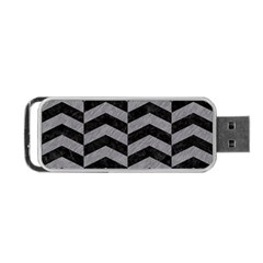 Chevron2 Black Marble & Gray Colored Pencil Portable Usb Flash (two Sides)
