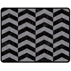 Chevron2 Black Marble & Gray Colored Pencil Double Sided Fleece Blanket (medium)