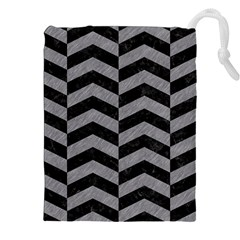 Chevron2 Black Marble & Gray Colored Pencil Drawstring Pouches (xxl)