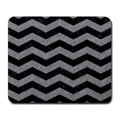 Chevron3 Black Marble & Gray Colored Pencil Large Mousepads