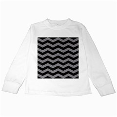 Chevron3 Black Marble & Gray Colored Pencil Kids Long Sleeve T Shirts