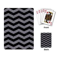 Chevron3 Black Marble & Gray Colored Pencil Playing Card