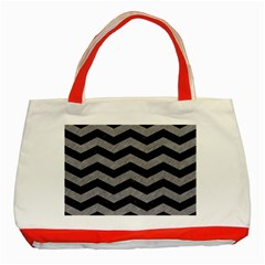 Chevron3 Black Marble & Gray Colored Pencil Classic Tote Bag (red)