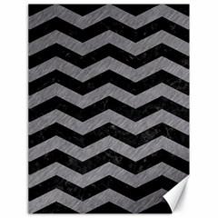 Chevron3 Black Marble & Gray Colored Pencil Canvas 18  X 24