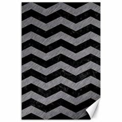 Chevron3 Black Marble & Gray Colored Pencil Canvas 24  X 36