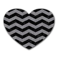 Chevron3 Black Marble & Gray Colored Pencil Heart Mousepads