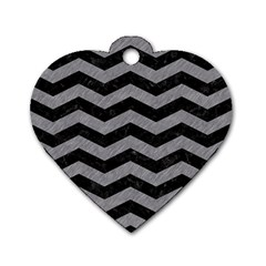 Chevron3 Black Marble & Gray Colored Pencil Dog Tag Heart (one Side)