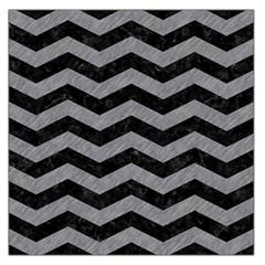 Chevron3 Black Marble & Gray Colored Pencil Large Satin Scarf (square)