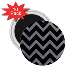 Chevron9 Black Marble & Gray Colored Pencil 2 25  Magnets (10 Pack)