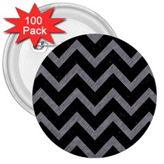 Chevron9 Black Marble & Gray Colored Pencil 3  Buttons (100 Pack)
