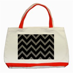 Chevron9 Black Marble & Gray Colored Pencil Classic Tote Bag (red)