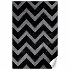 Chevron9 Black Marble & Gray Colored Pencil Canvas 24  X 36
