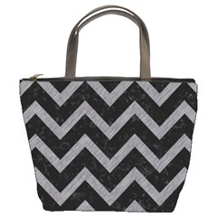 Chevron9 Black Marble & Gray Colored Pencil Bucket Bags