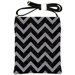 Chevron9 Black Marble & Gray Colored Pencil Shoulder Sling Bags