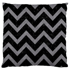 Chevron9 Black Marble & Gray Colored Pencil Large Cushion Case (two Sides)