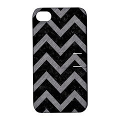 Chevron9 Black Marble & Gray Colored Pencil Apple Iphone 4/4s Hardshell Case With Stand