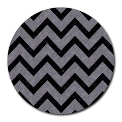 Chevron9 Black Marble & Gray Colored Pencil (r) Round Mousepads