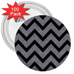 Chevron9 Black Marble & Gray Colored Pencil (r) 3  Buttons (100 Pack)