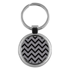 Chevron9 Black Marble & Gray Colored Pencil (r) Key Chains (round)