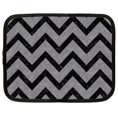 Chevron9 Black Marble & Gray Colored Pencil (r) Netbook Case (large)