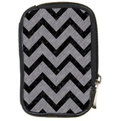 Chevron9 Black Marble & Gray Colored Pencil (r) Compact Camera Cases