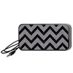 Chevron9 Black Marble & Gray Colored Pencil (r) Portable Speaker (black)