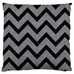 Chevron9 Black Marble & Gray Colored Pencil (r) Large Cushion Case (two Sides)