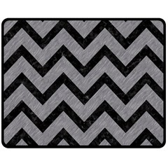 Chevron9 Black Marble & Gray Colored Pencil (r) Double Sided Fleece Blanket (medium)