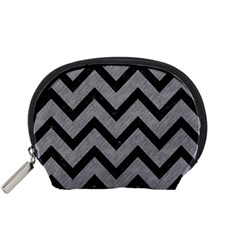Chevron9 Black Marble & Gray Colored Pencil (r) Accessory Pouches (small)