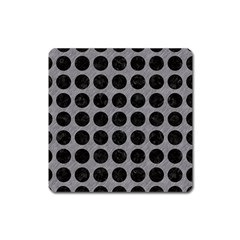 Circles1 Black Marble & Gray Colored Pencil (r) Square Magnet