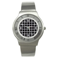 Circles1 Black Marble & Gray Colored Pencil (r) Stainless Steel Watch
