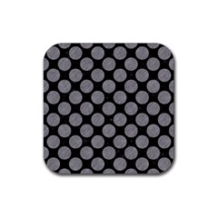 Circles2 Black Marble & Gray Colored Pencil Rubber Square Coaster (4 Pack)