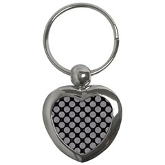 Circles2 Black Marble & Gray Colored Pencil Key Chains (heart)