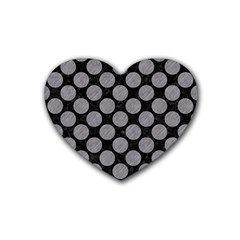 Circles2 Black Marble & Gray Colored Pencil Heart Coaster (4 Pack)