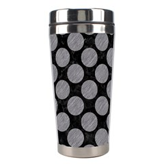 Circles2 Black Marble & Gray Colored Pencil Stainless Steel Travel Tumblers