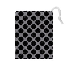 Circles2 Black Marble & Gray Colored Pencil (r) Drawstring Pouches (large)