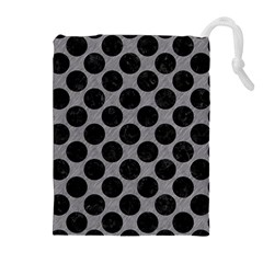 Circles2 Black Marble & Gray Colored Pencil (r) Drawstring Pouches (extra Large)