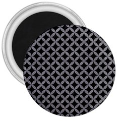 Circles3 Black Marble & Gray Colored Pencil 3  Magnets