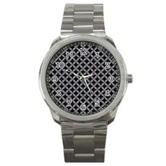 Circles3 Black Marble & Gray Colored Pencil Sport Metal Watch